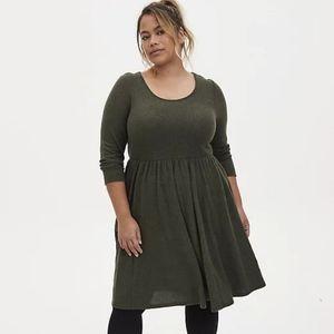 Torrid - Supersoft Olive Plush Skater Dress 0X